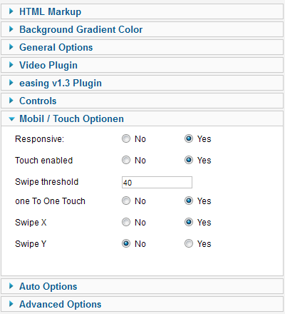 Touch Options